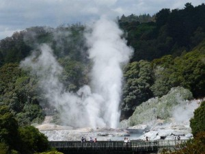 This is a steaming geyser errupting