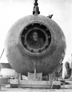 Man in bathysphere
